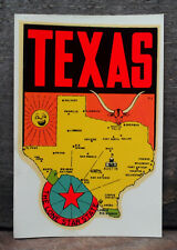 ORIGINAL VINTAGE TRAVEL DECAL TEXAS NOS LONE STAR OLD MAP ART RV TRUCK COW AUTO