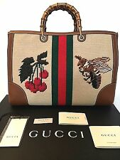 GUCCI Rare Bamboo Shopper Tote Shoulder Bag Red Green Tiger-Bee-Stripe Carry-on