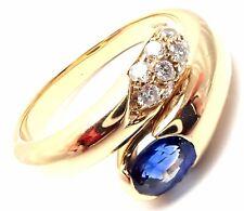 Authentic! Bulgari Bvlgari 18k Yellow Gold Diamond Sapphire Band Ring