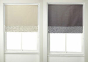 B&M Faux Silk Roller Blinds Beige/Grey With Gold/Silver Sequins