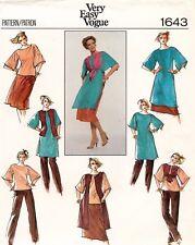 1970's VTG VOGUE Top,Vest,Skirt,Pants Pattern 1643 Size 14 UNCUT