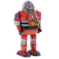 Vintage Wind Up Robot Astronaute w / Key Clockwork Mechanical Walking Tin