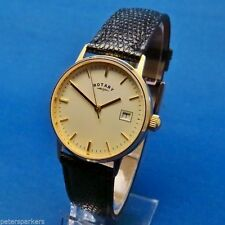 Genuine Leather Strap Rotary Solid Gold Case Wristwatches