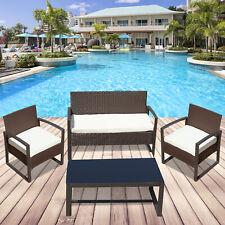 4 PCS Rattan Wicker Patio Sofa Table Furniture Set Cushioned Lawn Garden Outdoor