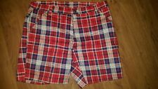 Vintage Plaid RED WHITE BLUE Shorts 4th of JULY Mens Lady USA Flag freedom capri
