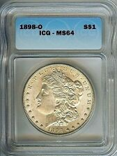 "1898-O  ""Scarce"" MORGAN DOLLAR, ICG GRADED MS64 SILVER COIN, WOW..Great LUSTER"