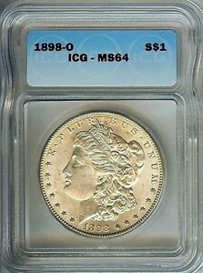 """<<1898-o """"Scarce"""" MORGAN DOLLAR, ICG GRADED MS64 SILVER COIN, WOW..Great LUSTER"""