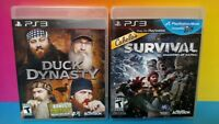Cabela's Survival + Duck Dynasty Game Lot - Sony PlayStation 3 PS3 - Tested