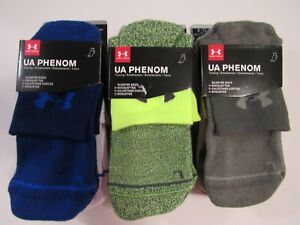 Under Armour Mens Phenom Training Performance 3 Pack Quarter Socks 8-12 Nwt