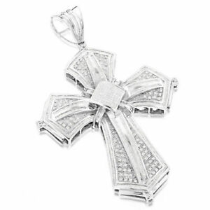 Hip Hop Jewelry Cross Pendant Necklace For Men's In 14K White Gold Plated