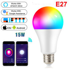 E27 Smart Colorful LED Light Bulbs RGB wireless  wifi Bluetooth Speaker 15W RGBC