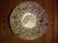 "Large Decorative Shallow Glass Bowl, 15.5"" wide, 3.5"" deep"