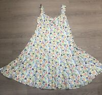 Pretty EAST Floral Yellow Green Blue A Line Strappy Summer Cotton Dress Size 18