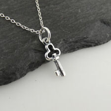 Tiny Skeleton Key Charm Necklace - 925 Sterling Silver - Old Fashioned Dainty