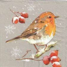 4 Single paper decoupage napkins.Xmas post box design-X196 birds snow winter