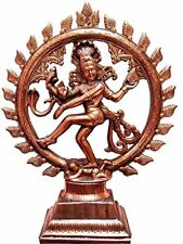 Dancing Lord Shiva Natraj God of Dance Natraja Copper Plated Metal Statue-17inch