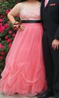 pink and black plus-sized prom dress, worn once, size 16 (gown style)