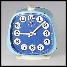 old vintage antique rare PETER Germany blue metal Mechanical ALARM CLOCK wind up