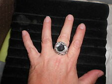"Paparazzi Stretch Band Ring (new) LARGE ""CRYSTAL"" STONE IN SILVER ""MERMAID TAIL"""
