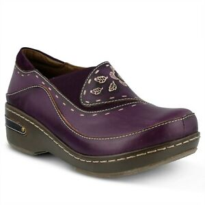 L'Artiste Burbank Women's Purple Hand Painted leather closed back clog  EUR 39