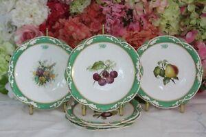 Antique, Davenport, English Porcelain Hand Painted Dessert Plates, c.1830-40