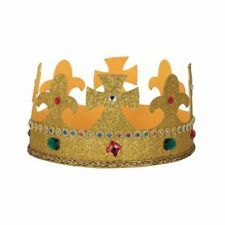 Fancy Dress Kings Crown Fabric One Size  Adults King Mens Ladies