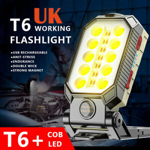 Large LED Work Light COB Inspection Lamp Magnetic Torch USB Rechargeable Car UK*