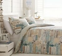 VINTAGE MARINE DRIFTWOOD REVERSIBLE DUVET COVER SET CHOICE DOUBLE OR KING SIZE