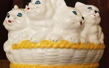 LARGE VINTAGE ITALIAN ART POTTERY CAT KITTEN PLANTER BY BELLINI OF ITALY