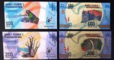 Madagascar Nouveauté 2 Billets 100, 200 Ariary 2017 UNC/Neuf Grenouille, Baobab