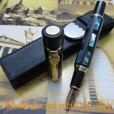 Deep Sea Bright Pearl Shell JINHAO Fountain Pen 18KGP M NIB and holster
