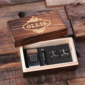 Personalised Gentlemans Box Gift Set - Oval Cufflinks, Money Clip, Tie Clip