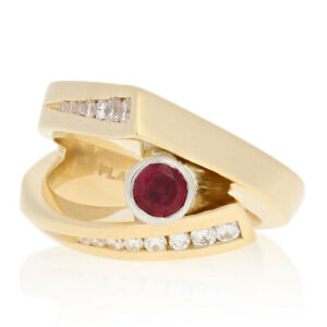86ctw Round Cut Ruby & Diamond Ring - 18k Yellow Gold & 900 Platinum Bypass