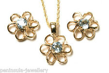 9ct Gold Blue Topaz Pendant and Earring Set Gift Boxed Made in UK