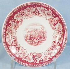2 Currier & Ives Saucers Homer Laughlin Red Transferware Vintage Dinnerware