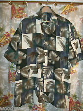 JIT Guys Aloha Shirt green Flowers Size Mens L Hawaiian Polyester Pocket