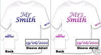 Mr & Mrs Just Married honeymoon Tshirts x2 personalised
