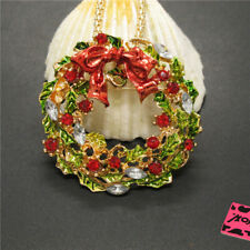 Hot Lovely Christmas Wreath Color Crystal Pendant Betsey Johnson Chain Necklace