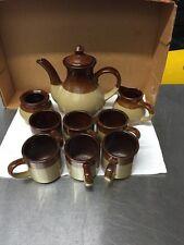 Vintage Clay Pottery Coffee/Tea Pot With 4 Cups, Sugar Dish, Creamer