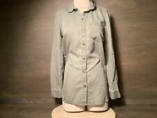 Women's Size SMALL Old Navy GREEN Denim Button Up Blouse 100% TENCEL LONG SLEEVE