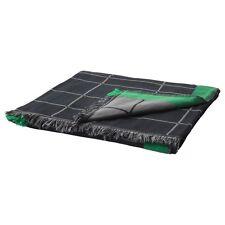 Ikea Anvandbar Throw - black with green and grey detailing - 100% cotton