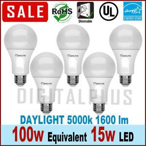 QTY 5 LED Daylight Dimmable Light Bulb 15-Watt 100 Watt Equivalent 5000k Maxlite