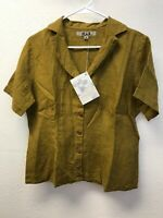 NWT FLAX Shirt Button Down Short Sleeve Linen Green Blouse Top S Fitted