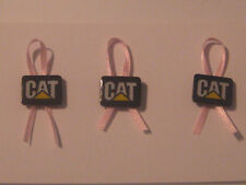 Caterpillar/CAT Logo Pin LOT of 3 w/ custom PINK RIBBON Breast Cancer Awareness