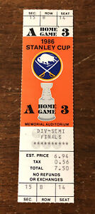 1986 Buffalo Sabres Playoffs Div Semi Finals UNUSED TICKET Memorial Auditorium