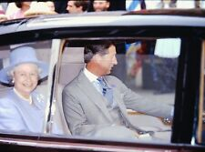 QUEEN ELIZABETH II & PRINCE CHARLES - Original 35mm COLOR Slide - 1995