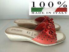 PHIL GATIER Sandalo Scarpa Donna Ciabatta Plantare Pelle Rosso ITALY N° 38 NUOVO