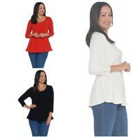 Attitudes by Renee 3/4 Sleeve Peplum Sweater Top Pic Reg/Plus Sz & Color A341769
