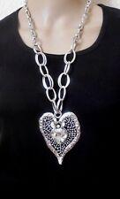Halsschmuck Kette Halskette Metallkette silberfarben Kristall  XXL Herz lang
