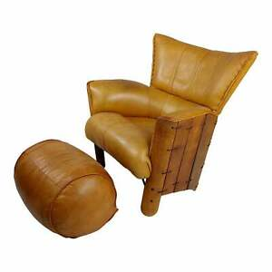 Pacific Green Moorea Leather Arm Chair w/Ottoman